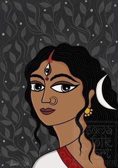 Madhubani Art, Madhubani Painting, Poster Color Painting, Block Painting, Bengali Art, Mother Kali, Durga Painting, Indian Folk Art, Indiana