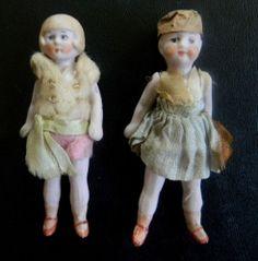 Lot 2 Antique Hertwig Bisque Miniature Dolls House Flapper Girl Dolls c1920'S | eBay