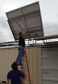 Houston's solar powered disaster response shipping containers. http://www.out-backstorage.com