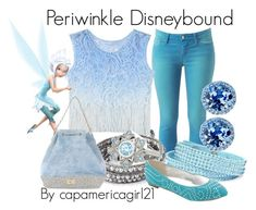 """Periwinkle Disneybound"" by capamericagirl21 ❤ liked on Polyvore featuring Arizona, Chan Luu, Disney, Enzo Angiolini, Secret PonPon and Nina"
