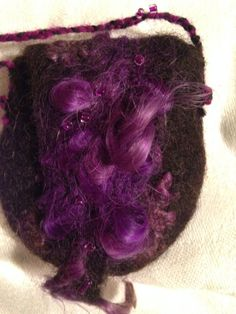 Felted minibag purple and black by faglar on Etsy