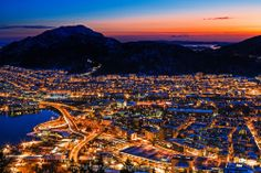 City lights of Bergen in Norway by sunset in wintertime