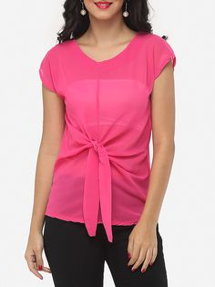 Bowknot Round Neck Chiffon Plain Seethrough Blouse Only $11.95 USD More info...
