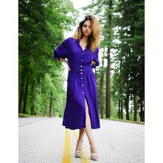 """Vintage royal purple button front dress with gold decorative buttons.  Shoulder pads included. 100% rayon. This dress is so fabulous!  Tag size 24W Bust 48"""" Waist stretches to 44"""" $28 shipping included in price  Leave email for invoice  SOLD!!"""