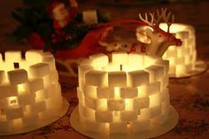 Sugarcubes with lights Merry Little Christmas, Simple Christmas, Christmas Countdown, Christmas Holidays, Christmas Crafts For Kids, Xmas Crafts, Diy And Crafts, Christmas Decorations, Kids Barn
