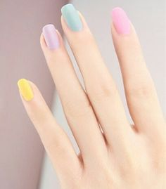 50 Most Cutest and Easy Light Colorful Nails Idea - Each Nail with Different Colors for Beginner - Page 48 Love Nails, How To Do Nails, Fun Nails, Pretty Nails, Easter Nails, Manicure E Pedicure, Gel Nails At Home, Perfect Nails, Spring Nails