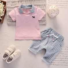 * Lapel collar * Tie at waist * Include: 1 tee, 1 pants * Material: Cotton * Machine wash, tumble dry * Imported Toddler Girl Outfits, Baby Outfits Newborn, Toddler Fashion, Boy Fashion, Kids Outfits, Baby Boy Clothes Online, Cute Baby Clothes, Baby Clothes Shops, Prep Boys