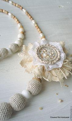 """Crochet necklace / Бусы и брошь в стиле бохо """"Летний рассвет"""" - серый, природный, комплект украшений, брошка"""