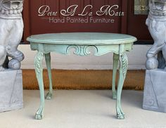 Antique Petite Claw Foot Table Hand Painted With By Peintalamain, $250.00