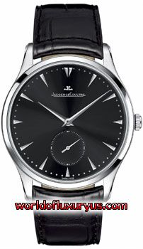 """Q1358470 - Jaeger LeCoultre Master Control Ultra Thin watch features 40mm case diameter with 7"""" adjustable strap, black dial, scratch resistant sapphire crystal, black leather strap with crocodile pattern, deployment buckle, 43-hour power reserve, automatic movement and 50 meter water resistance. - See more at: http://www.worldofluxuryus.com/watches/Jaeger-LeCoultre/Master/Q1358470/219_220_5554.php#sthash.LmT7gzaI.dpuf"""