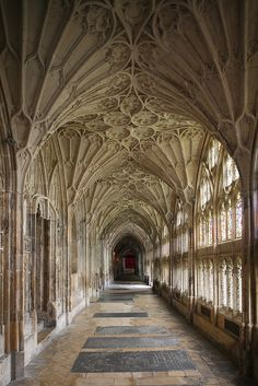 The Cloisters, Gloucester Cathedral by stevecadman, via Flickr....Moonflower's favourite cathedral.