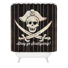 anderson design group ahoy ye scallywag pirate flag shower curtain
