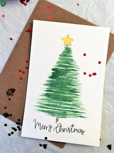 Set of 5 Cards Merry Christmas Greeting Card Handmade Card Watercolor Christmas Tree Card Tra. Set of 5 Cards Merry Christmas Greeting Card Handmade Card Watercolor Christmas Tree Card Traditional Simple Minimalist Christmas Card Painted Christmas Cards, Simple Christmas Cards, Christmas Card Crafts, Homemade Christmas Cards, Christmas Greeting Cards, Greeting Cards Handmade, Reindeer Christmas, Christmas Sentiments, Christmas Lights