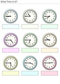 Actividades para niños preescolar, primaria e inicial. Plantillas con relojes analogicos para aprender la hora diciendo que hora es. Que hora es. 31