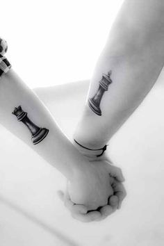 Chess King and Queen Couple tattoo