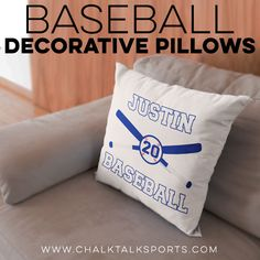 Add a baseball theme to any room with this fun throw pillow! Choose from a small or large zippered pillow with a super comfy faux down insert. One and two sided design options are available, and some can even be customized with your name, number, or logo! Gifts For Baseball Players, Baseball Gifts, Baseball Room Decor, Personalised Frames, Custom Pillow Cases, Engraved Gifts, Room Signs, A Team, Special Gifts