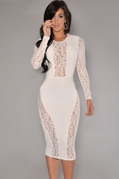 Fashion White Plunge Long Sleeves Lace Party Midi Dress | Dresses ...