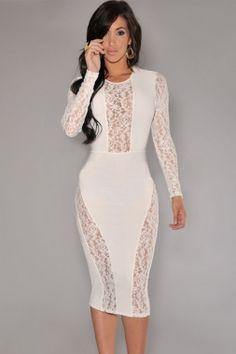 Fashion White Plunge Long Sleeves Lace Party Midi Dress | Dresses ...