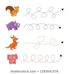 Writing Practice Preschool Kids Trace Line stockvector (rechtenvrij) 1140987803 Animal Worksheets, Tracing Worksheets, Preschool Worksheets, Kids Writing, Writing Practice, Vector Design, Cartoons, Kids Rugs, Crafts
