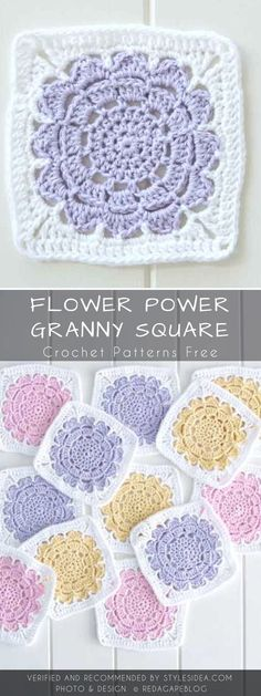 Flower Power Granny Square Crochet Pattern Free #crochetpatterns
