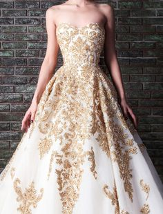 2014 Rami Kadi gold embroidery wedding gown XT 1085 white and gold wedding dresses-in Wedding Dresses from Apparel & Accessories on Aliexpress.com