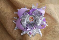 Princess Sofia the First Bottlecap & Bling Hairbow by TheBOWrista, $12.00