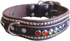 """Paco Collars - """"Rainbow Ruadh Deluxe"""" - Exclusive Handmade Leather Large Dog Collar - 1.5""""Wide - Brass - Brown 18""""-20""""... #collars #pet"""