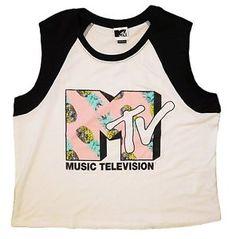 c20025b0d1132 Details about MTV Women's Juniors NEW Tank Top Tee Shirts CROP TOP Retro  80's Music Videos
