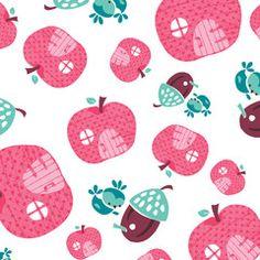 Fairyville Apple Houses White Cotton Fabric