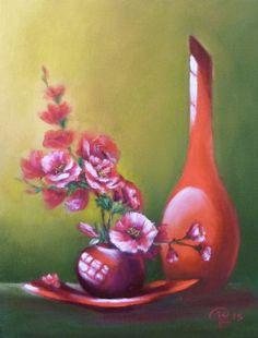 """Натюрморт Красные цветы Свет Красная ваза Декор дома  11"""" x 14"""" by NikkolinaArt on Etsy"""