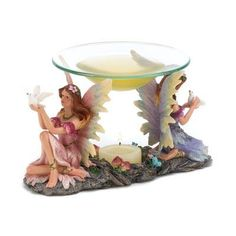 Twin Fairy Fairies Candle Oil Warmer Free Shipping!