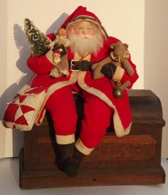 Handmade Sitting Santa Claus-Handmade Doll & Teddy Bear~By Kim Sweet-Kim's Klaus