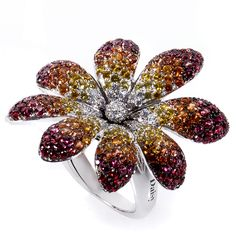Zoccai 18K White Gold Multicolor Sapphire & Diamond Daisy ring // Zoccai - London Jewelers, Americana Manhasset, NY.