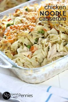 This Creamy Chicken Noodle Casserole is made from scratch! Easy & cheesy it's quick to make loaded up with veggies (not salt) & it tastes amazing too! Chicken Noodle Casserole, Casserole Dishes, Casserole Recipes, Tuna Casserole, Chicken Noodles, Hamburger Casserole, Chicken Pasta, Grilled Chicken, Pasta Dishes