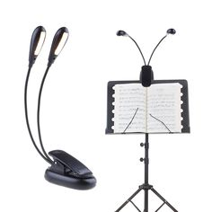 Warm Music Stand Light Clip On Book Reading Light 5 Brightness Level 10 LED Desk Lamp USB and Battery Operated for Piano DJ Bed Headboard Car Travel