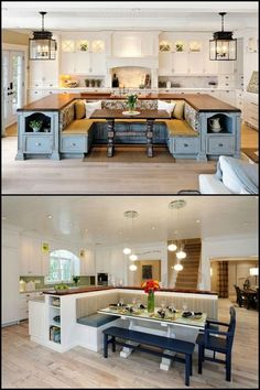 A kitchen island with built-in seating is a great option if you are into breakfast nooks but your kitchen layout can't accommodate the usual design for it - built in a corner, adjacent to a wall. Do you want to have a kitchen island with built-in seating Kitchen Island Booth, Kitchen Booths, Kitchen Cabinets, Kitchen Island Built In Seating, Built In Dining Room Seating, Booth Seating In Kitchen, Kitchen Island Dining Table, U Shaped Kitchen Island, Kitchen Island With Table Attached