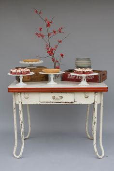Red and white enameled table