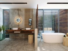 Greenery and neutrals: 50 Perfectly Minimal Bathrooms To Use For Inspiration - UltraLinx