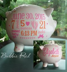 Personalized piggy bank custom baby birth stats gift baby girl personalized piggy bank custom piggy bank baby girl piggy bank baby girl gift negle Images