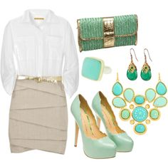 Sea green accessories and linen pencil skirt for work.