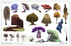 Trees Concept Art - by amazingly talented young twin sister duo Elioli http://www.elioliart.com/