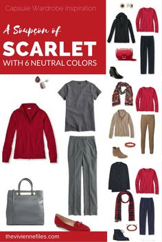 Capsule wardrobe featuring A Soupçon of Scarlet, with Six Neutrals for your capsule wardrobe