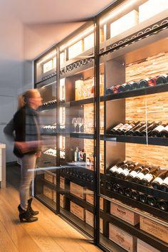 Wine Cellar Racks, Glass Wine Cellar, Home Wine Cellars, Wine Cellar Design, Wine Design, Minimal House Design, Modern Villa Design, Wine Shelves, Wine Storage