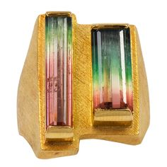 Bruno Guidi Step Cut Watermelon Tourmaline Gold Ring | From a unique collection of vintage fashion rings at https://www.1stdibs.com/jewelry/rings/fashion-rings/