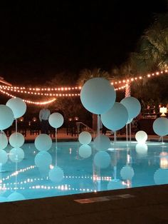 Pool Wedding Decorations, Birthday Balloon Decorations, 18th Birthday Party, Happy Birthday, Diy Party, Bridal Shower, Balloons, String Lights, Diy Wedding