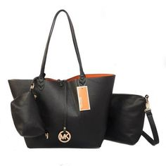 Michael Kors Outlet Charm Logo Large Black Totes