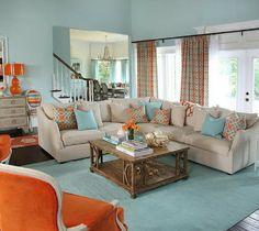 Blue And Orange Living Room Design Ideas