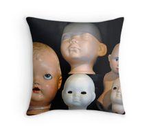 Doll Heads (horizontal) Throw Pillow