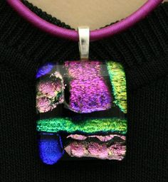 Mosaic Fused Glass Pendant Dichroic by addicted2glassfusion. $26.50 USD, via Etsy.