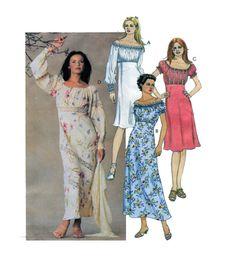 Peasant/Gypsy Garden Style Dress McCalls 3975 Womens Empire Waist Blouson Bodice Soft Casual Drape Dress Elastic Waist Size 4-6-8-10 UNCUT by FindCraftyPatterns on Etsy